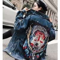 SexeMara fashion The New Loose Beading Sequin Hole denim jacket free shipping