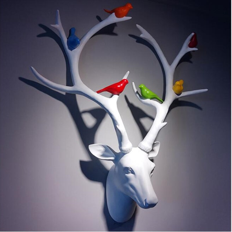 Олень белка настенные украшения 3D животного Art Скульптура фигурки смолы Ремесла дома творческий фон гобелены R677