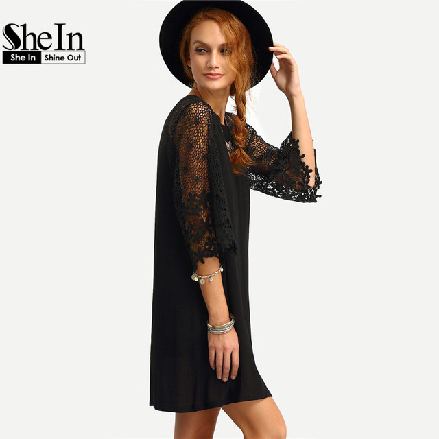 SheIn Womens Summer Shift Dresses Ladies Black Hollow Out Crochet Three Quarter Length Sleeve Round Neck Casual Tunic Dress