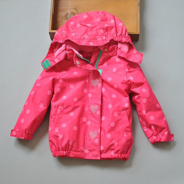 Chaqueta de los niños, chaqueta de las muchachas 2015 de lunares niña , además de terciopelo abrigo chaqueta exterior impermeable a prueba de viento zanja