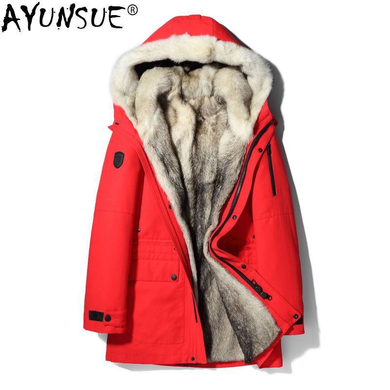 AYUNSUE 2019 Parka Real Fur Coat Men Winter Jacket Natural Wolf Fur Coats Warm Outerwear Long Parkas Hombre 17029 KJ2425