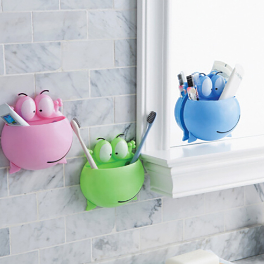 Bathroom Accessories Toothbrush Holder Wall Suction Cups Shower Holder Cute Frog Sucker Toothbrush Holder Suction Hooks Shelf 75