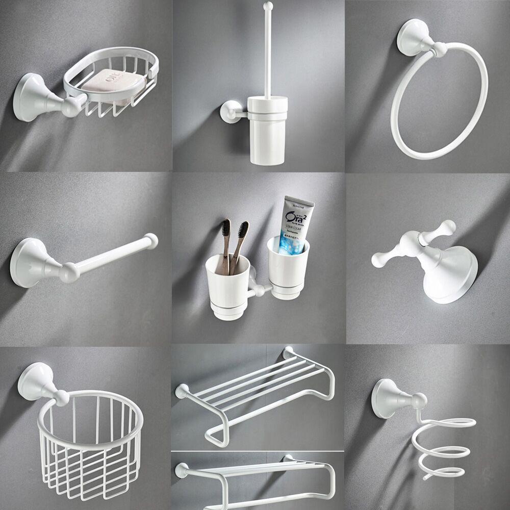 White Bathroom Hardware Accessories Brass Set Toilet Brush Holder Towel Ring Hair Tumbler Holder Dry Holder Toilet Paper Holder serveware