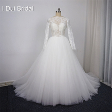 Long Sleeve Lace Wedding Dresses Many Tulle Layer High Quality Eyelash Lace Factory Real Photo