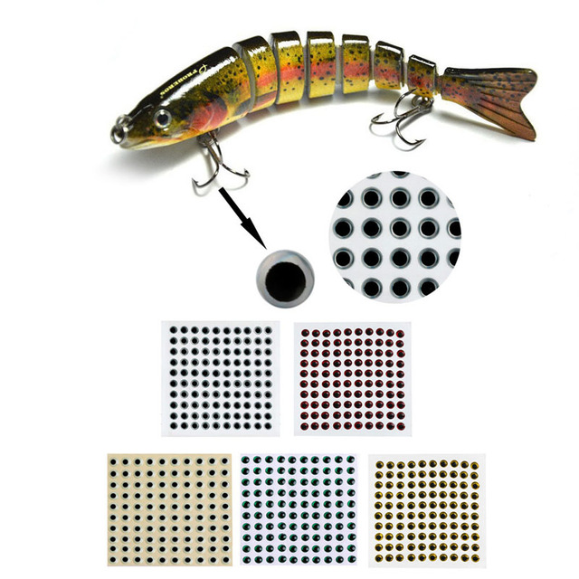 100 piezas 3-9mm ojos de pez 3D holográfico señuelo ojos volar atar Jigs artesanías muñecas
