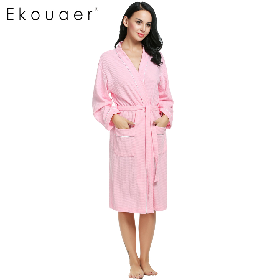 Ekouaer Cotton Women Robes Bathrobes Wedding Bridal Kimono -2066