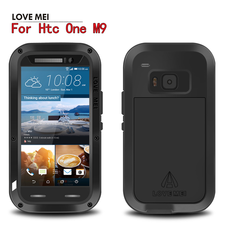 imágenes para M9 Original AMOR MEI Potente Resistente A Prueba de Choques de Aluminio del Metal Para HTC Uno M9 + Cubierta de la Caja de Vidrio Gorila