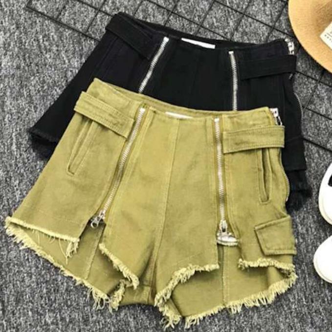 2019 summer denim shorts new high waist double zipper split fashion women jeans shorts