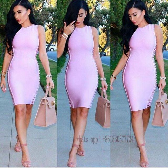 e6b2b9155752 off shoulder pink summer dress2016 briefs celebrity sexy bandage bodysuit  girl short party dresses boutique fashion gown