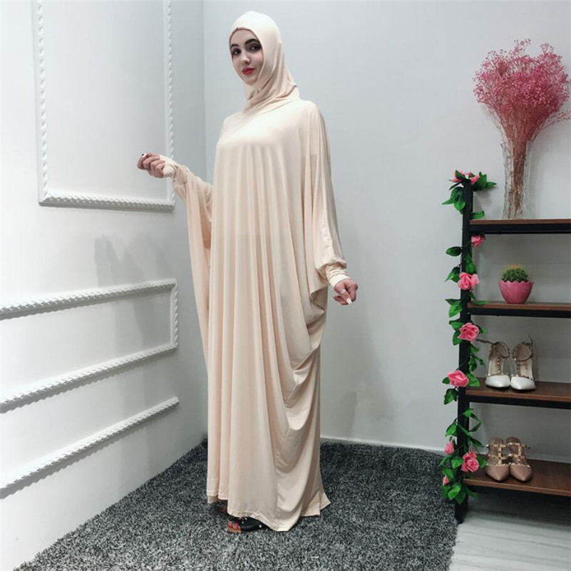 2019 women Muslim Abaya one piece Dress Kimono Long Robes ruffles Jubah Middle East Eid Ramadan