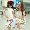 2016 лето мода новое поступление цветочные соответствия мать и дочь одежда комплект короткий рукав рубашки и брюки мода 2 шт. комплект