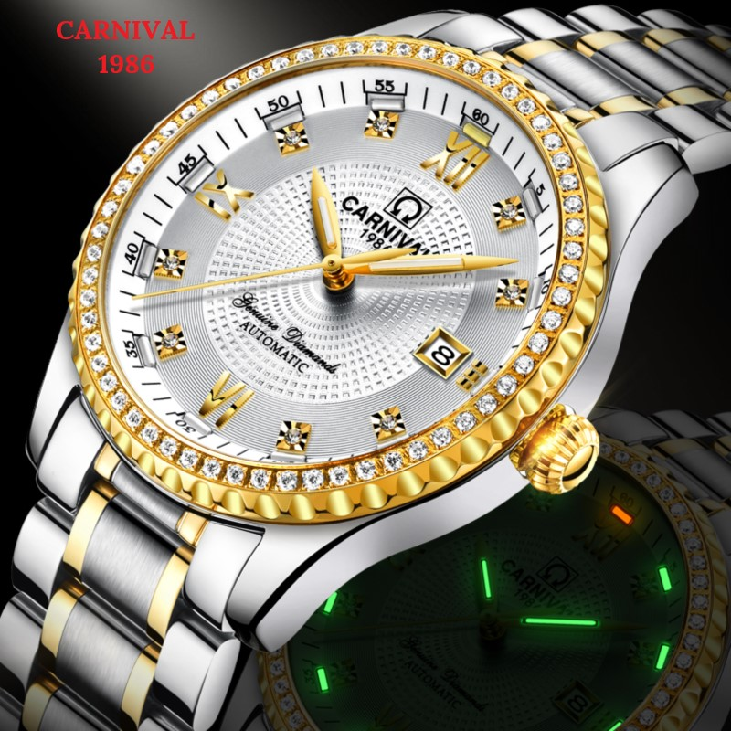 Fashion Tritium Watch Automatic CARNIVAL Diamond Mechanical Watch Men Waterproof Calendar Sapphire Full Steel Horloges mannen
