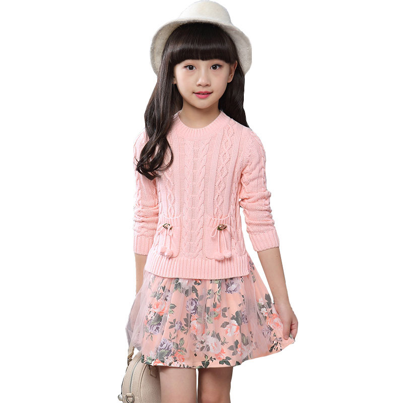 Kids Girls Dress Christmas Party Dresses Knitted Thick Warm 2018 Autumn Winter Girls Clothes Children Clothing 4 6 8 10 12 Years girls winter dresses elegant thicken kids dresses for girls warm cotton children clothes clothing autumn winter 7 16y pink blue
