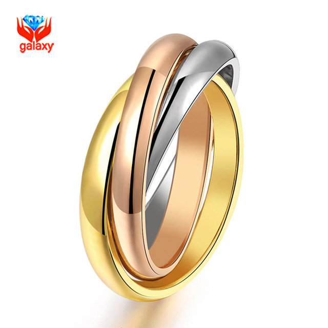 YHAMNI Fashion Pure Gold Color Lover Engagement Ring Stainless