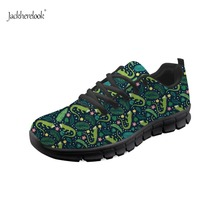 Jackherelook Fashion Green Forest Iguana Print Black Sneakers Women Vulcanize Shoes Ladies Trainers Chaussure Femme Casual