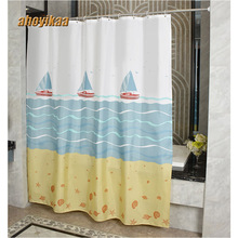 купить Bathroom Shower Curtain The Sea Sailing 130g Of Figured Dacron Cloth Toilet Partition Curtain Waterproof Mouldproof  Thickening по цене 896.25 рублей