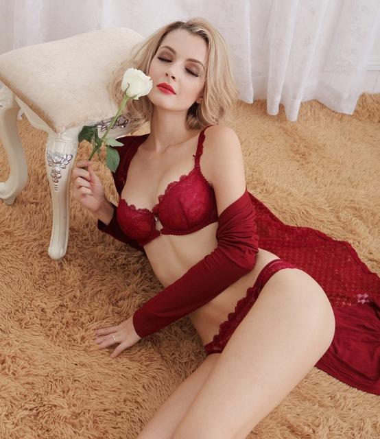 Sexy transparent women's ultra-thin lace bra set