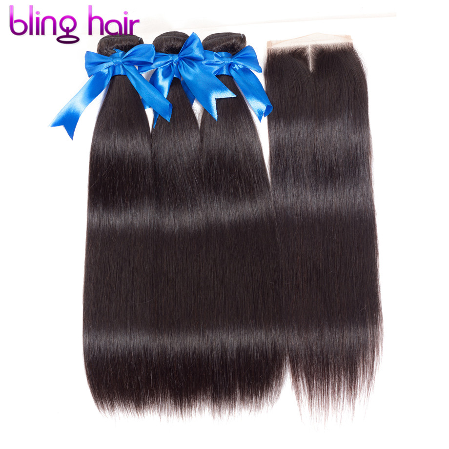 bling hair Straight Hair 3 Bundles With Closure Brazilian Hair Weave Bundles with Swiss Lace Closure
