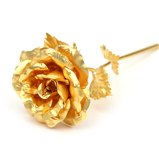 24k Gold Plated Foil paper Bouquet Roses Never wither artificial fake flowers Birthday Valentine's Day wedding gifts for guests
