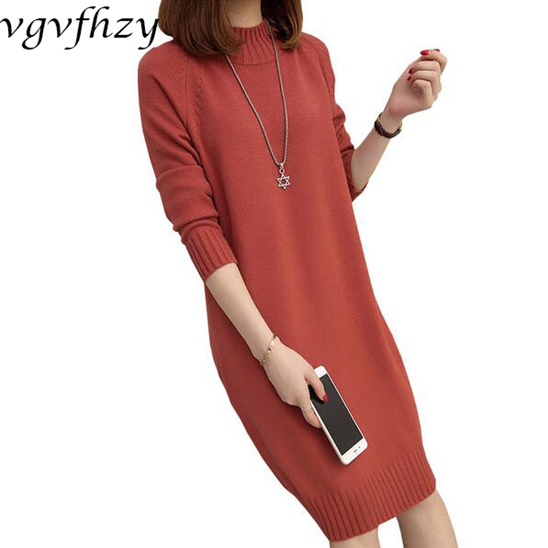 Sweater Dress For Women 2017 Autumn Winter Fashion O-Neck Long sleeve Slim Hip Fine-Knit Pullovers Female Basic Knitted Dress new 2017 hats for women mix color cotton unisex men winter women fashion hip hop knitted warm hat female beanies cap6a03