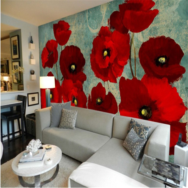 beibehang Large custom wallpaper red flower haiga mulberry poppy flower oil painting background wall painting papel parede