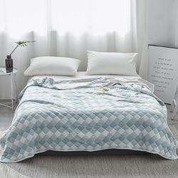 Edredón de verano de algodón de lujo doble reina rey mantas de moda plaid cama cubierta niños adultos edredón blanco azul suave edredón