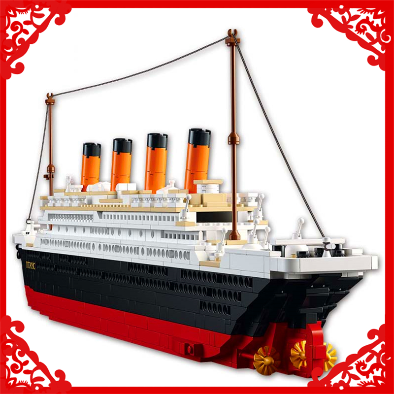 SLUBAN 0577 City Titanic RMS Ship Building Block Compatible Legoe 1021Pcs DIY Educational  Toys For Children lepin 24021 city creator 3 in 1 island adventures building block 379pcs diy educational toys for children compatible legoe