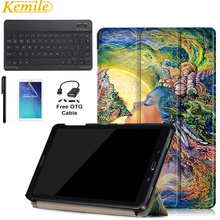 Ultra Lightweight Slim Folio Stand Cover Case For Samsung Galaxy Tab A 10.1 P585/P580 with Aluminum Bluetooth Keyboard+Gift