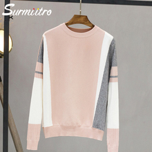 Surmiitro Sweater Female 2019 Autumn Winter Fashion Patchwork Knitted Jumper For Women Ladies Pullover Female Tricot Pull Femme