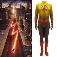 Adult Kids Flash 2 Comic Costume Barry Allen Cosplay Marvel Superhero Jumpsuit Fancy Muscle Bodysuit Flash Cosplay