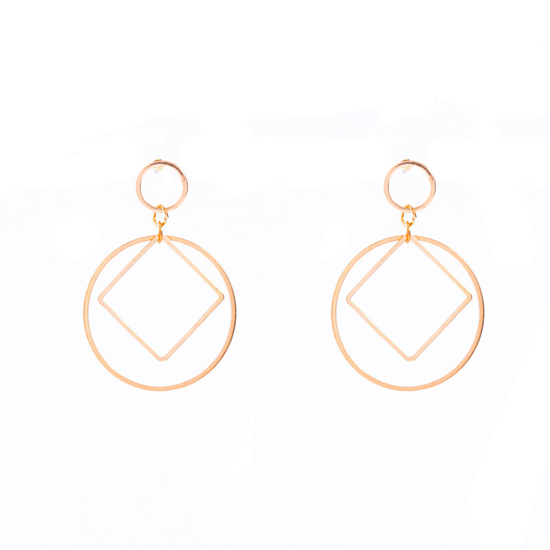 female earrings 925 silver pin Korean version of a simple square geometric square hollow female fashion earrings