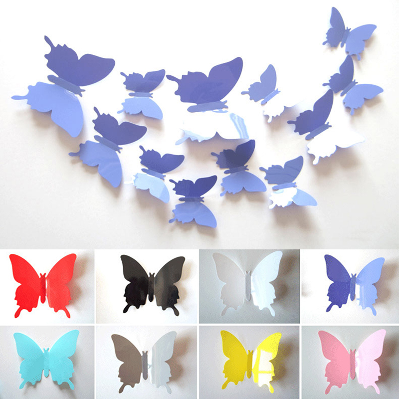 12PCS/Set 3D Butterflies Wall Stickers For Kids Rooms Solid Color Butterfly Fridge Stickers Poster For Kitchen Home Decor S2