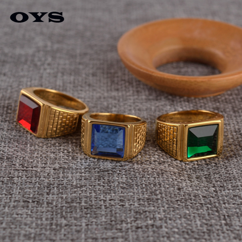 Man Punk Rings Vintage 316L Titanium Steel 3 Colors Snakeskin Deaign Gem Finger Ring With Stone Fashion Jewelry Hot Sale Item