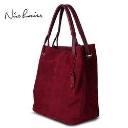 Нико Louise женщин реального раскол замши сумка, новый отдых большая Топ-ручка сумки леди Повседневная Crossbody плеча сумочку