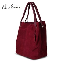 Nico Louise Women Real Split Suede Leather Tote Bag New Leisure Large Top Handle Bags Lady