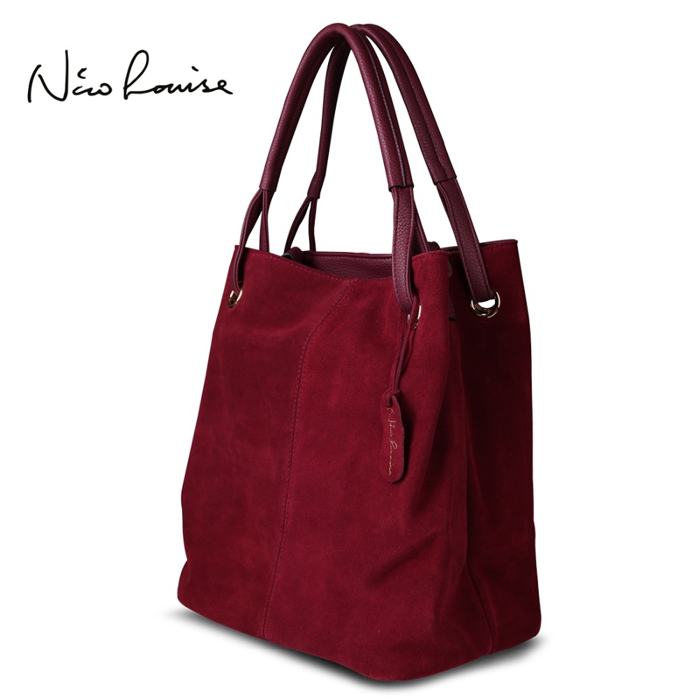 Nico Louise Women Real Split Suede Leather Tote Bag,New Leisure Large Top-handle Bags Lady Casual Crossbody Shoulder Handbag