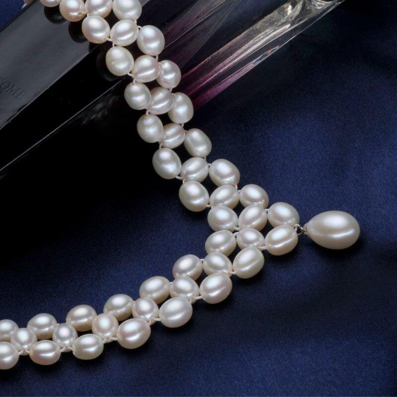 ASHIQI collier de perles d'eau douce naturelles avec véritable 925 fermoir en argent Sterling perle bijoux pour les femmes mariée mariage - 3