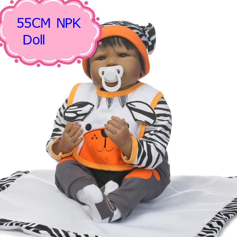 NPK 55cm Reborn Baby Doll Lifelike Brand Original Silicone Babies 22inch Reborn Dolls Toy With Special Design 22'' Doll Clothes free shipping hot sale real silicon baby dolls 55cm 22inch npk brand lifelike lovely reborn dolls babies toys for children gift