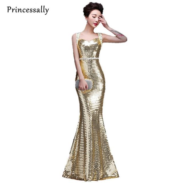 Gold Pailletten Partykleid Lange Sparkly Brautjungfer Kleider ...