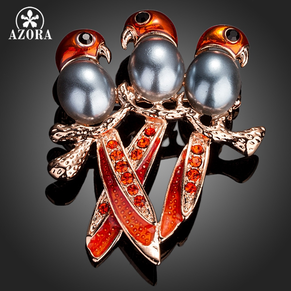 AZORA Rose Gold Color With Three Birds Red Stellux Austrian Crystal Pin Brooch TP0026 q and q f329 401