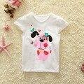 2016 novo estilo de anos de idade As Crianças da Roupa Do Bebê da menina do menino camisas cão Dos Desenhos Animados de Algodão de Mangas Curtas