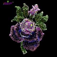 2016 Новый Насекомых Цветок Розы Броши Ясно Горный Хрусталь Кристаллы Броши Булавки для Женщин Ювелирные Подарки На День Рождения 6635