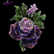 2016 New Insect Flower Rose Brooches Clear Rhinestone Pins Crystals Broaches for Women Jewelry Birthday Gifts 6635
