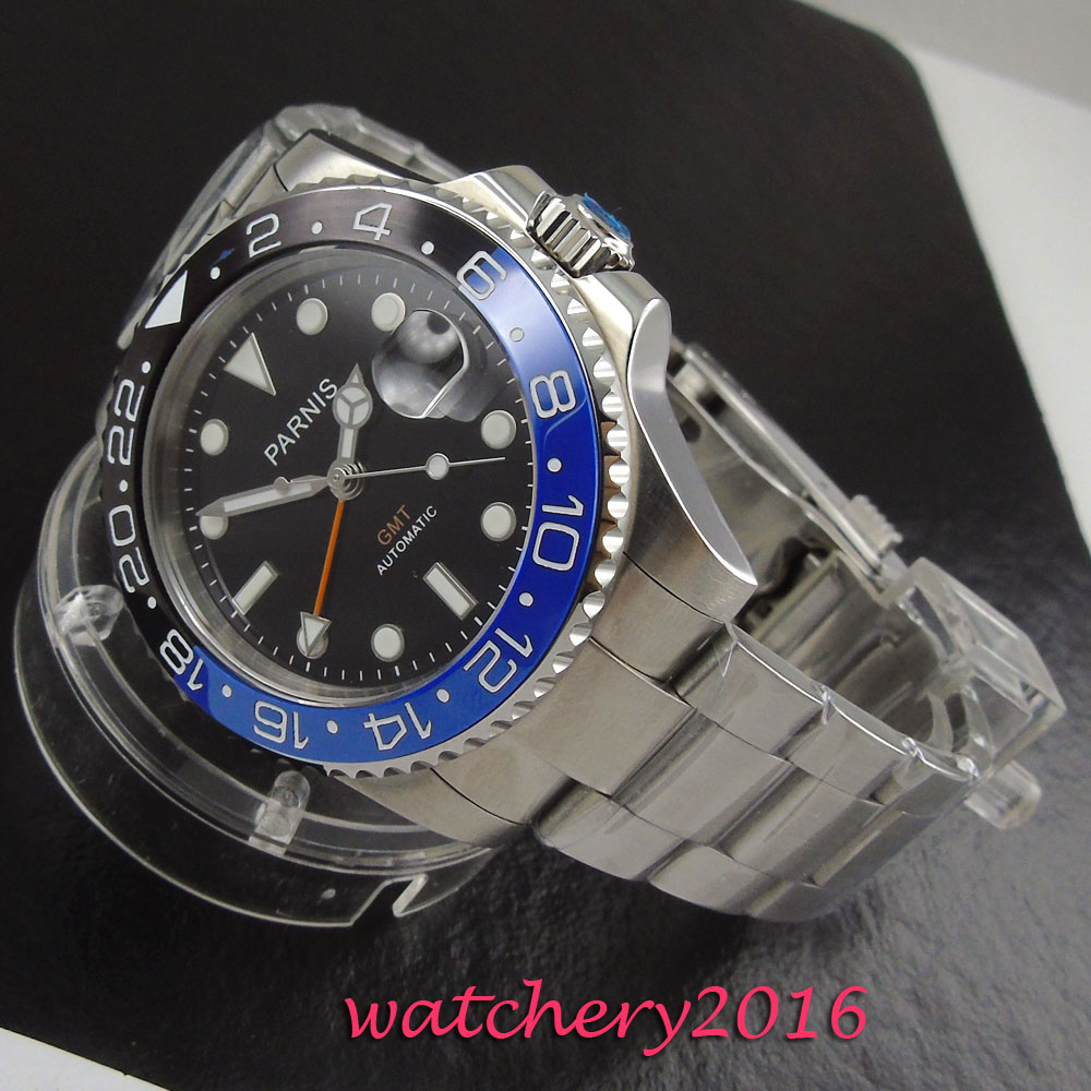 Moldura de Vidro Relógio de Negócios Novo Parnis Mostrador Preto Cerâmica Safira Data Ajustar Gmt Movimento Automático Masculino 40mm