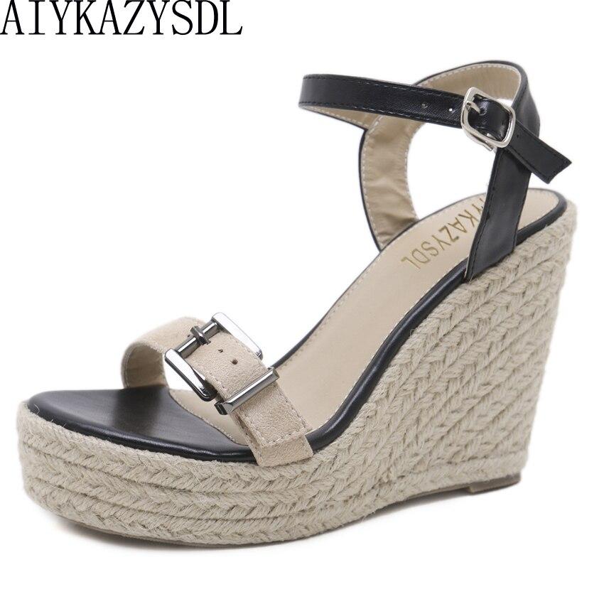 7bac86fb2f0471 Detail Feedback Questions about AIYKAZYSDL Women Rome Gladiator Sandals  Cane Hemp Straw Shoes Wedge Sandals Platform Bohemian High Heel Thick  Bottom Shoes ...