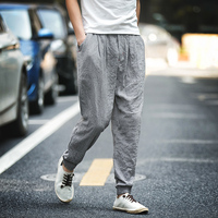 2017 Summer Red Chinese Male Cotton Linen Pant Men Kung Fu Wu Shu Trousers Loose Casual