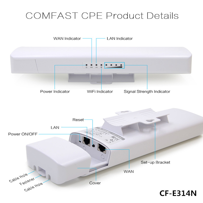 COMFAST 300Mbps outdoor wireless CPE bridge WIFI transmitter/ receiver CF-E314N signal amplifie wifi repeater support IP cameras