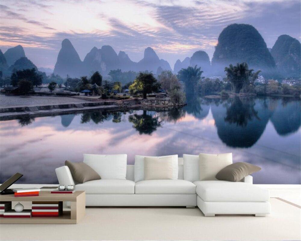 Beibehang Custom wallpaper landscape oil painting Guilin landscape reflection television background walls murals 3d wallpaper