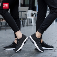 WeiDeng Fly Kintted Casual Air Cushion Elastic Breathable Lace up Walking Sport Air Mesh Soft Tennis Training Man Woman Shoes