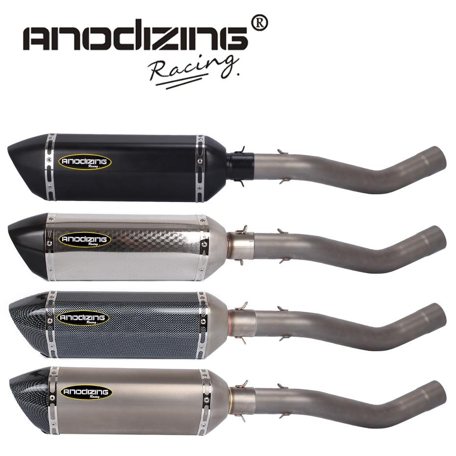 Скольжения на Для Kawasaki запросу zx6r ZX в-6р 2009-2014 соединение трубы из нержавеющей стали из углеродного волокна выхлопа глушитель комплект молчание ссылке Средняя Труба